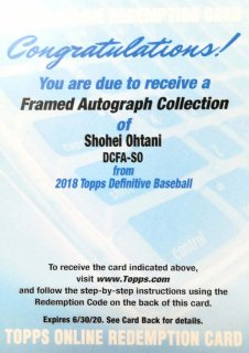 2018 Topps Definitive Framed Autograph Collection Shohei Ohtani ミント札幌店 くまきち様