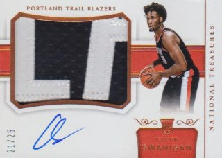 2017-18 PANINI NATIONAL TREASURES Rookie Patch Autographs  Calerb Swanigan 【25枚限定】 / ポニーランド MM様
