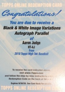 2018 Topps High Tek Black and White Image Variations Autograph Aaron Judge MINT梅田店 ドクターイエロー様
