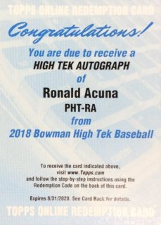 2018 Bowman High Tek Autograph Ronald Acuna MINT梅田店 ドクターイエロー様