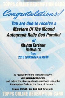 2018 Topps Luminaries Masters of the Mound Autographs Red Para Clayton Kershaw【10枚限定】ミント札幌店 くまきち様
