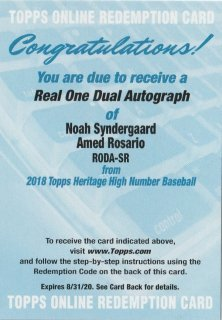 2018 Topps Heritage High Number Real One Dual Autograph N. Syndergaard  A. Rosario/MINT新宿店 K@I様