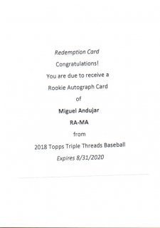 2018 Topps Triple Threads Rookie Autographs Miguel Andujar【99枚限定】 MINT三宮店 ロサリオ様