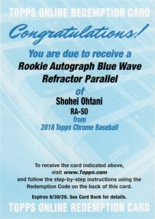 2018 TOPPS CHROME Rookie Autographs Blue Wave Refractors Shohei Ohtani【150枚限定】/ MINT千葉店 Tony様