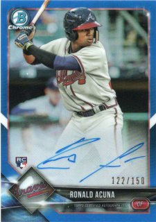 TOPPS 2018 Bowman Chrome Blue Refractor Autograph Ronald Acuna 【150枚限定】 ミント神田店 モリモリモリーナ様
