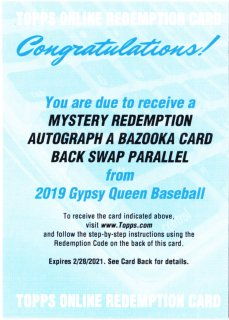 2019 Topps Gypsy Queen Mystery Redemption Auto Player A ミント札幌店 Aアイ様[4月]