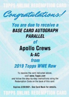 2019 TOPPS WWE RAW Autograph Card Appolo Crews / MINT立川店 ひじき様[7月]