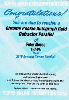 2019 TOPPS BOWMAN CHROME Rookie Autograph Card Gold Peter Alonso 【50枚限定】  / MINT立川店 わかめ様[9月]