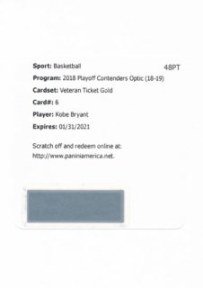 2018-19 Panini Contenders Optic Gold Auto Kobe Bryant【10枚限定】/Rookie Star店 RS103様[10月]
