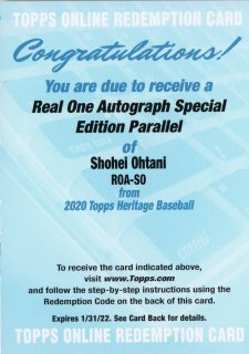 2020 TOPPS HERITAGE Real One Auto SE Parallel Shohei Ohtani【/71 or less】 /MINT吉祥寺店 オオタニサーン様 3月