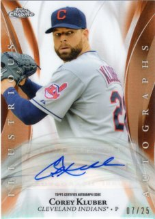 2015 TOPPS Chrome Illustrious Orange Refractor Auto Corey Kluber 【25枚限定】 梅田店 NMB1C/Tいったった様