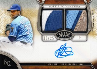2015 Topps Tier One Yordano Ventura Autographed Relic  Dual Patch #/25【25枚限定】MINT札幌店よし様