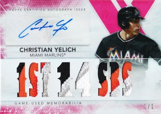 2015 Topps Triple Threads Christian Yelich Autographed Relics Ruby【1枚限定】ミント札幌店 よし様