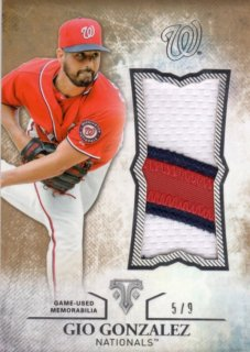 2015 Topps Triple Threads Unity Jumbo Relic Card (Gold) Gio Gonzalez 【9枚限定】 梅田店 ブラッドオレンジ様