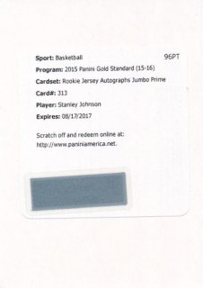 2015-16 PANINI GOLD STANDARD RC Jumbo Patch Auto Stanley Johnson【25枚限定】 Rookie Star RS28様