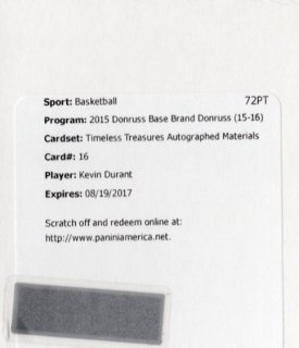 15-16 Panini Donruss Autographed Materials Kevin Durant MINT福岡店 ダンク王様