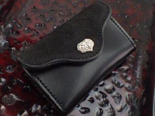 エレファント& サドルレザー コイン カード ケース w/ ハートボタン w/スカルTバー