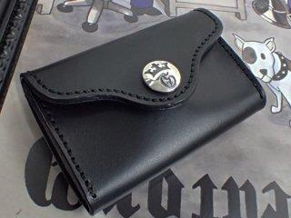 ブラック サドルレザー コイン カード ケース w/ジー&クラウンボタン