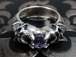 デビルスカルトライアングルワイヤーバングル6mmCZダイヤモンドリング
