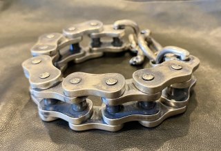 Motorcycle Chain Bracelet (Large) [B-128] Motorcycle Chain With Skull Bracelet Large