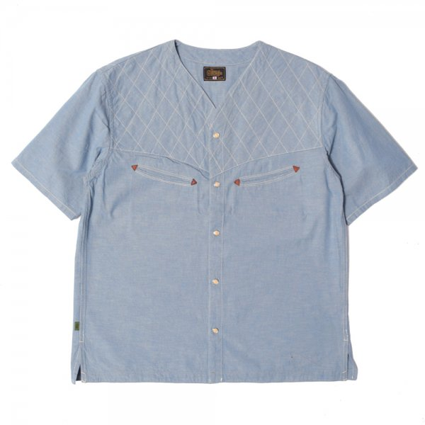 SHORT SLEEVE QUILT SHIRTS -chambray-