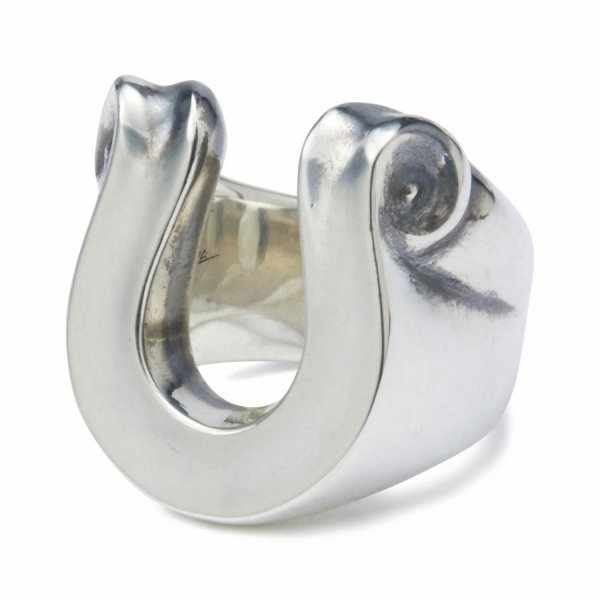 LETTER RIBBON HORSE SHOE RING LARGE