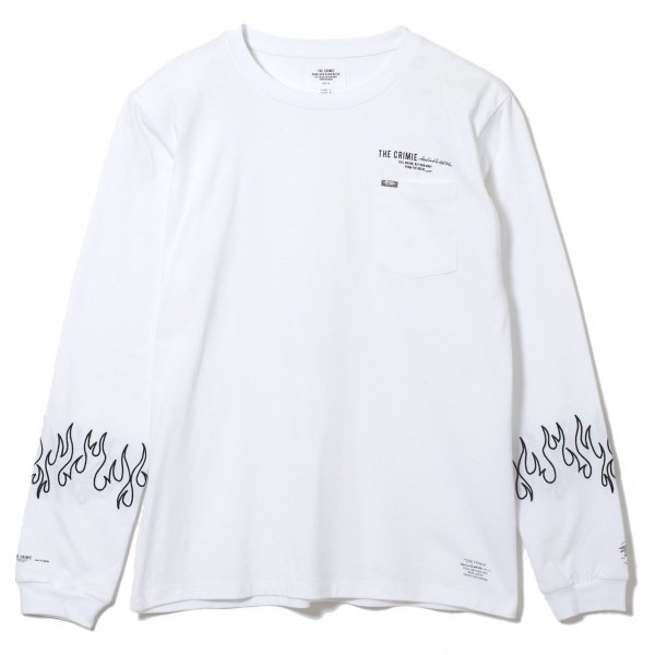 FLAME EMBROIDERY LONG SLEEVE T SHIRT