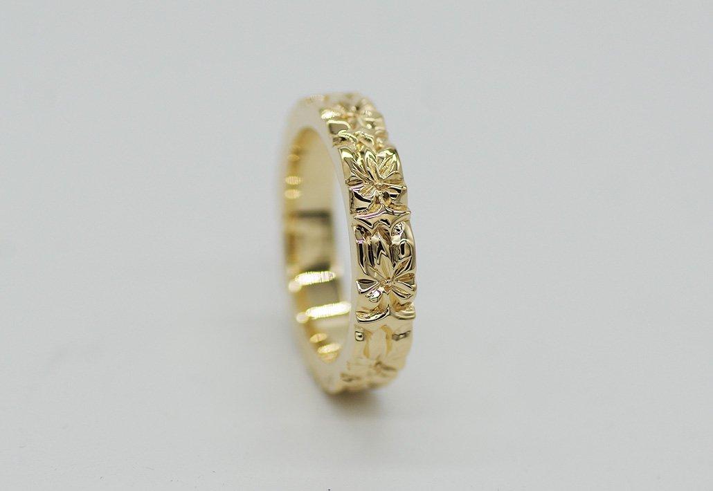4mm幅 HIRAUCHI RING14KYG[AROHA](婚約指輪/結婚指輪)