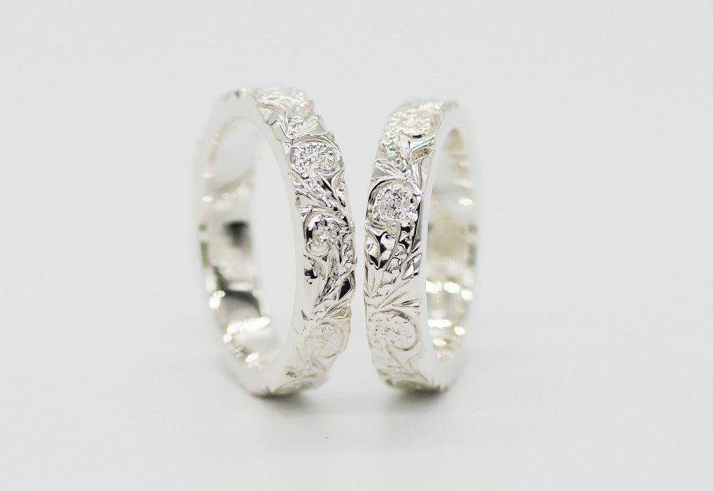 [ペアリング]HIRAUCHI 4mm/4mm SV950 [SCROLL](婚約指輪/結婚指輪)