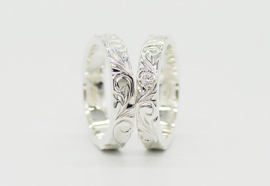 [ペアリング]HIRAUCHI 4mm/4mm SV950 [AREMITI](婚約指輪/結婚指輪)