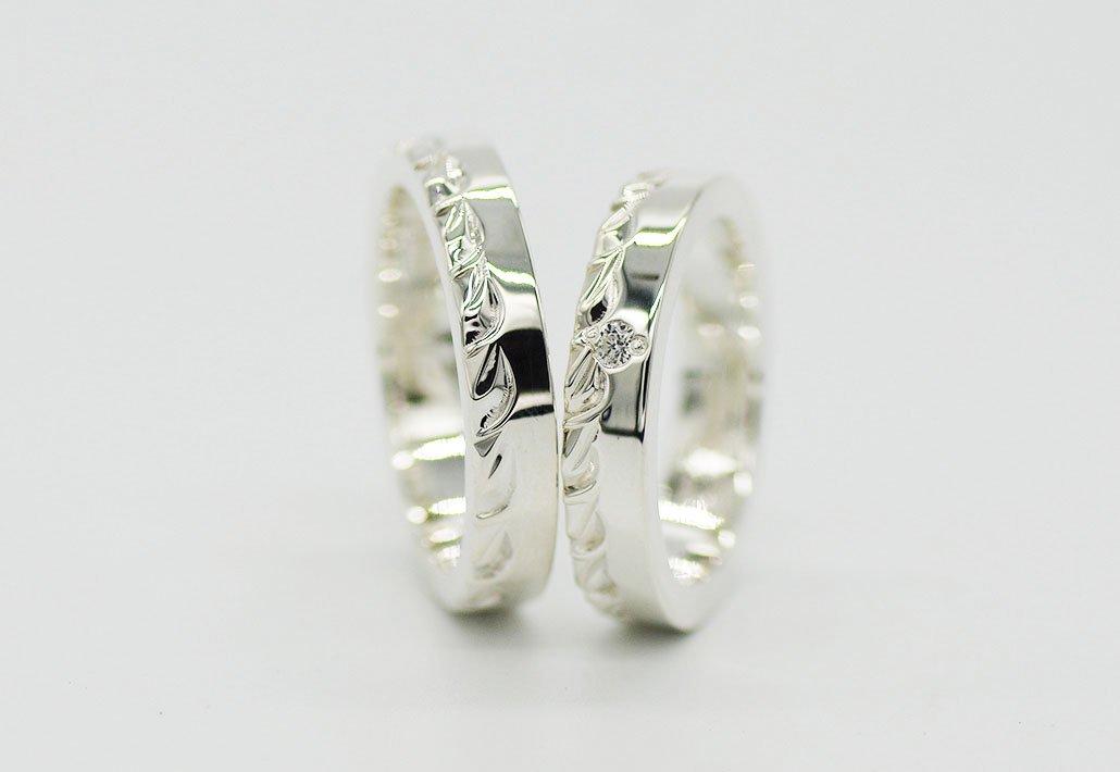 [ペアリング]HIRAUCHI 4mm/4mm SV950 [HAPA/MAILE](婚約指輪/結婚指輪)