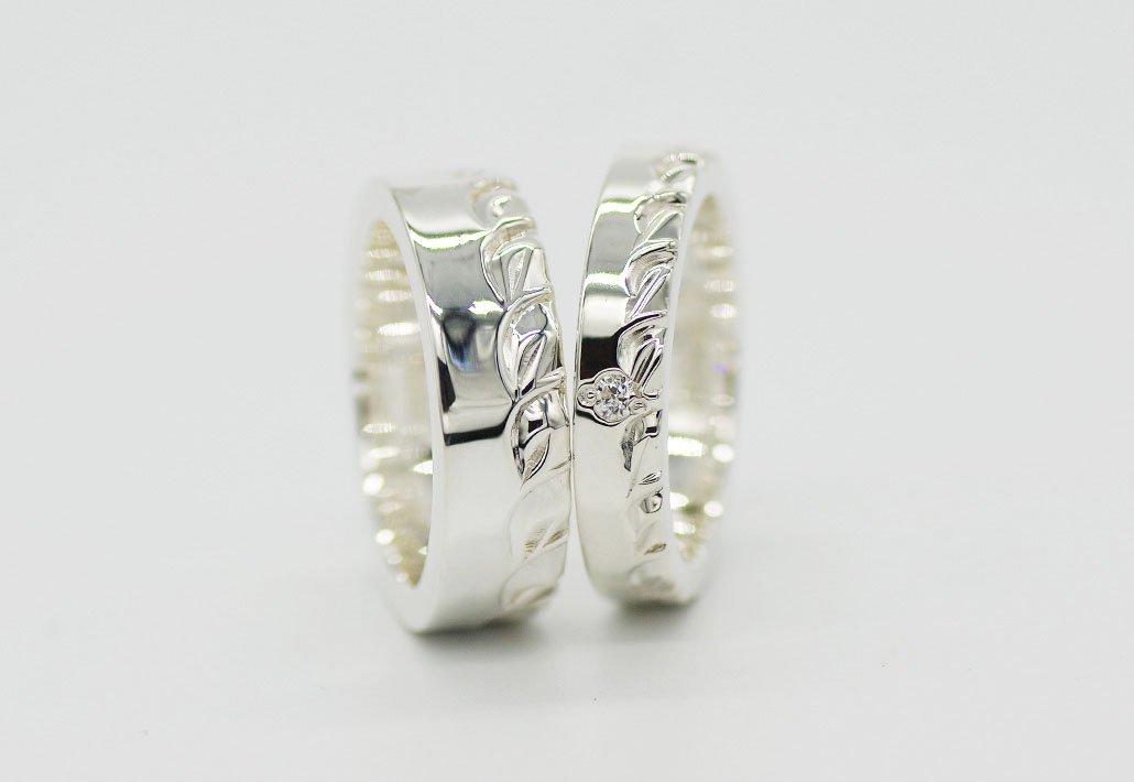 [ペアリング]HIRAUCHI 6mm/4mm SV950 [HAPA/MAILE](婚約指輪/結婚指輪)