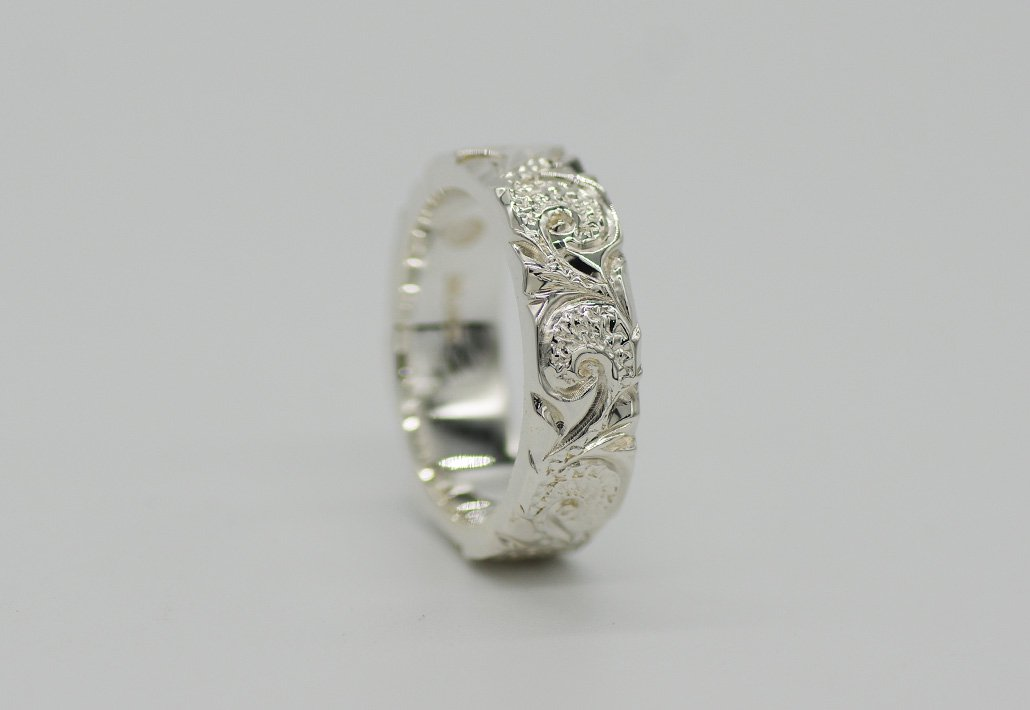 6mm幅 HIRAUCHI RING SV950 [SCROLL](婚約指輪/結婚指輪)