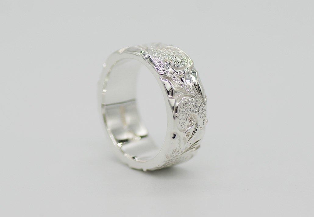 8mm幅 HIRAUCHI RING SV950 [SCROLL](婚約指輪/結婚指輪)