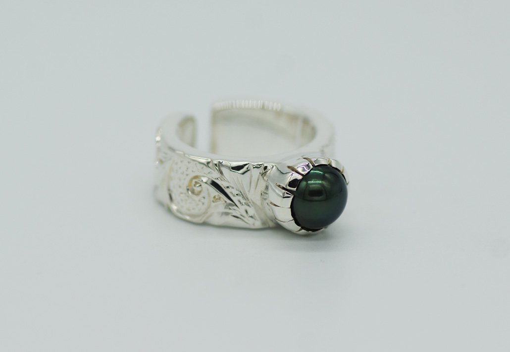 8mm幅 TAHITIAN PEARL RING SV950 [SCROLL]
