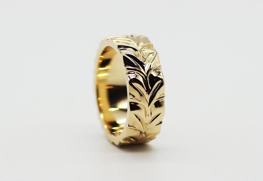8mm幅 HIRAUCHI RING14K YG [AROHA](婚約指輪/結婚指輪)