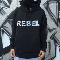 SQUASH REBEL HOODY -BLACK (反転)