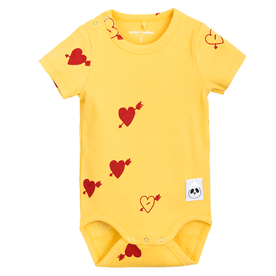 mini rodini Heart rib ss body yellow