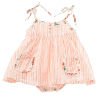 <b>tocoto vintage</b><br>20ss Baby striped dress with flower print straps and inner body<br>SALMON<img class='new_mark_img2' src='https://img.shop-pro.jp/img/new/icons1.gif' style='border:none;display:inline;margin:0px;padding:0px;width:auto;' />