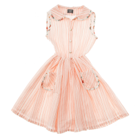 <b>tocoto vintage</b><br>20ss Striped dress with flowers trimming on edges<br>SALMON<img class='new_mark_img2' src='https://img.shop-pro.jp/img/new/icons1.gif' style='border:none;display:inline;margin:0px;padding:0px;width:auto;' />