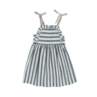 <b>KOKORI</b><br>20ss APRON DRESS<br>NAVY STRIPES