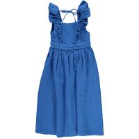 <b>piupiuchick</b></br>20ss Long dress with fnills on straps<br>indigo blue linen