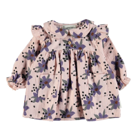 <b>piupiuchick</b></br>20aw Baby peter pan dress w/ frills on shoulders <br>pale pink w/ flowers