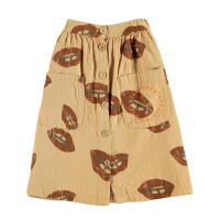 <b>piupiuchick</b></br>20aw Long skirt <br>caramel w/ lips allover