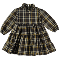 <b>tocoto vintage</b><br>20aw Tartan plaid dress with ruffled neck<br>DARK BROWN<img class='new_mark_img2' src='https://img.shop-pro.jp/img/new/icons1.gif' style='border:none;display:inline;margin:0px;padding:0px;width:auto;' />
