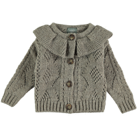 <b>tocoto vintage</b><br>20aw Knitted open-work cardigan with flounced neck<br>GREY<img class='new_mark_img2' src='https://img.shop-pro.jp/img/new/icons1.gif' style='border:none;display:inline;margin:0px;padding:0px;width:auto;' />