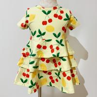 <b>mini rodini</b><br>21ss Cherry lemonade aop ss dress<br>Yellow