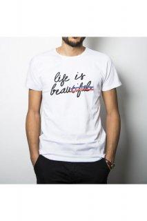 新作 パリ発 kingies キンギーズ LIFE IS BEAU メッセージ ロゴ パロディ フォト  Tシャツ プリント ホワイト  関税込 セレブ愛用
