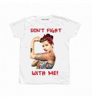 日本未入荷 イタリア発 BFLAK Tシャツ DONT FIGHT ピンナップガール バンダナ ロゴ フォト パロディー プリント  関税込 モデル セレブ愛用