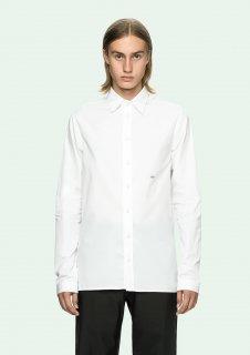 日本未入荷  限定 ヴァージルアブロー着 Off-White オフホワイト  ロゴ プリント ドレス シャツ ホワイト  関税込 カニエウエスト愛用 入手困難